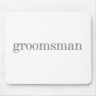 Gray Text Groomsman Mouse Mats