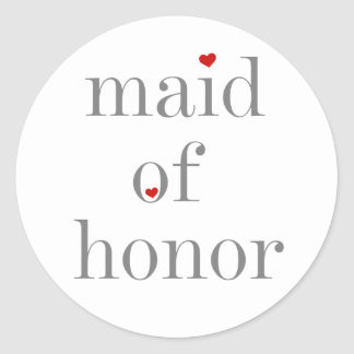Gray Text Maid of Honor Classic Round Sticker