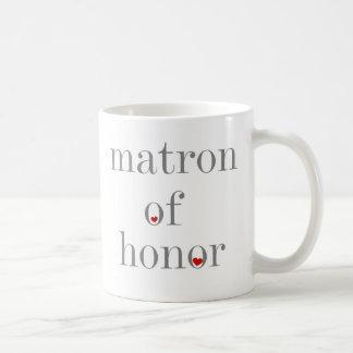Gray Text Matron of Honor Classic White Coffee Mug