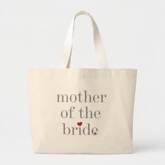 Gray Text Mother of Bride Large Tote Bag