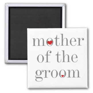 Gray Text  Mother of Groom Square Magnet