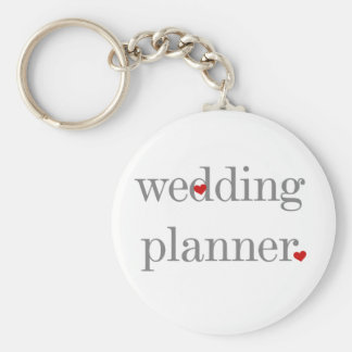 Gray Text Wedding Planner Basic Round Button Key Ring