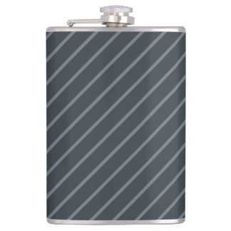 Gray & Thin Light Stripes 8 oz Vinyl Wrapped Flask