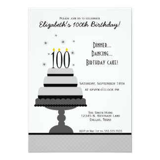 Gray Tiered Cake 100th Birthday Party Invitation