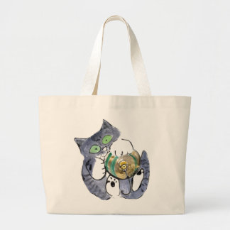 Gray tiger kitten is Hanging on Tight Jumbo Tote Bag