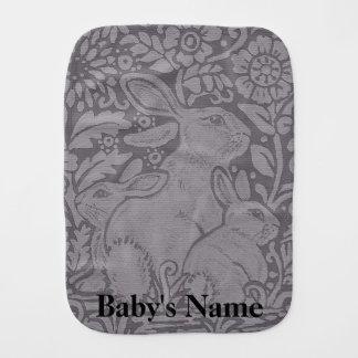 Gray Tone Burp Cloth Baby Rabbit Personalized Gift