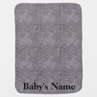 Gray Tones Baby Blanket Bunny Rabbits Personalized