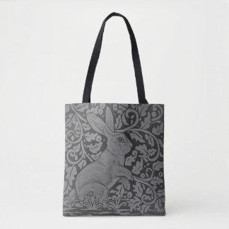 Gray Tones Rabbit Scroll Design Elegant Tote Bag