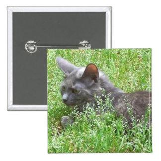 Gray Tortie Cat 15 Cm Square Badge