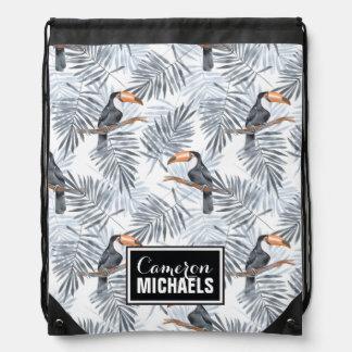 Gray Toucan | Add Your Name Drawstring Bag