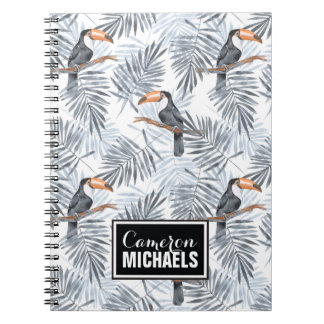 Gray Toucan | Add Your Name Spiral Note Book