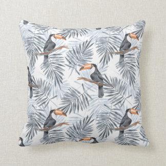 Gray Toucan Throw Pillow