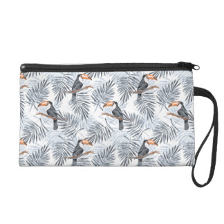 Gray Toucan Wristlet Clutch