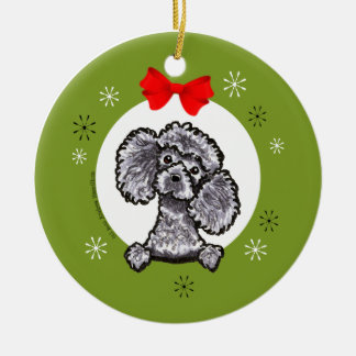 Gray Toy Poodle Christmas Classic Christmas Ornament