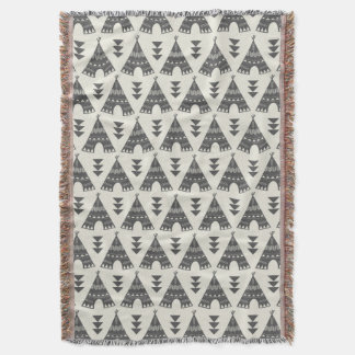 Gray Tribal Teepees Throw Blanket