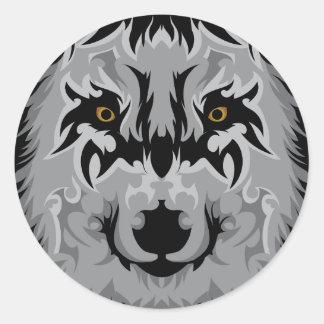 Gray Tribal Wolf Head Round Sticker