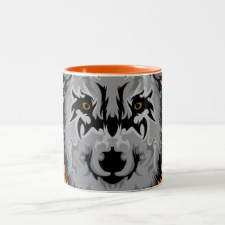 Gray Tribal Wolf Head Two-Tone Coffee Mug