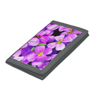 Gray TriFold Nylon Wallet with Flowers motive