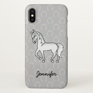 Gray Trotting Cartoon Horse & Name iPhone X Case