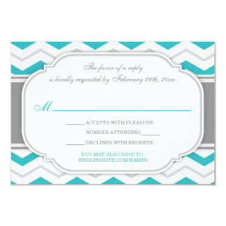 Gray Turquoise Chevron Wedding Reception RSVP Card 9 Cm X 13 Cm Invitation Card