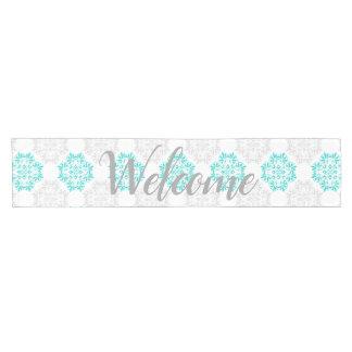 Gray Turquoise Modern Kaleidoscope Damask Pattern Short Table Runner