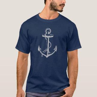 Gray Vintage Anchor Illustration T-Shirt