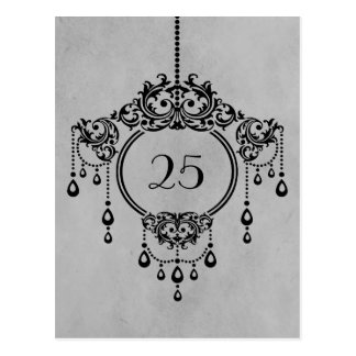 Gray Vintage Chandelier Table Number Postcard