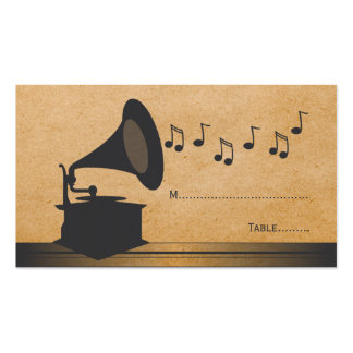 Gray Vintage Gramophone Place Card Business Cards