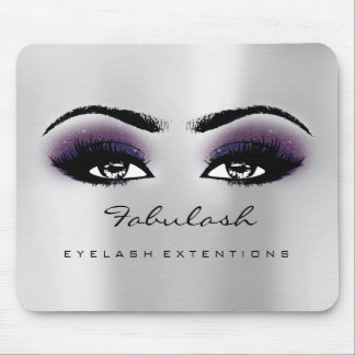 Gray Violet Glitter Name Beauty Lashes Makeup Mouse Mat