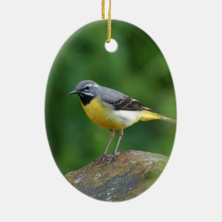 Gray Wagtail - bird Ceramic Oval Decoration