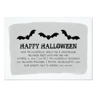 Gray Watercolor Bats Halloween Party Invite