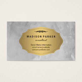 Gray Watercolor Brushed Elegant Faux Gold Label Business Card