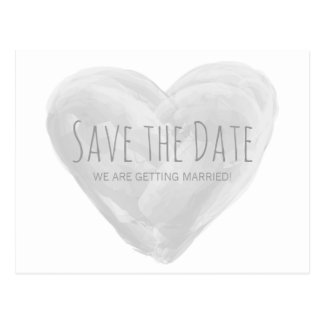 Gray Watercolor Heart Save the Date Postcard