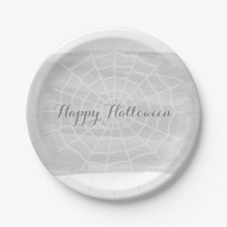 Gray Watercolor Spider Web Halloween Paper Plate
