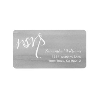 Gray Watercolor Wedding RSVP Labels