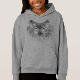 Gray Watercolor Wolf Light Hoodie