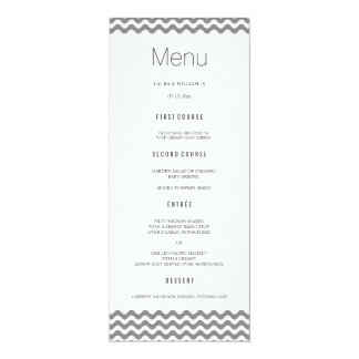 Gray Wave Chevron Wedding Dinner Menu Cards 10 Cm X 24 Cm Invitation Card