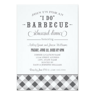 Gray Wedding Rehearsal Dinner | I Do BBQ 13 Cm X 18 Cm Invitation Card
