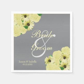 Gray Wedding Satin and Pastel Yellow Disposable Napkin