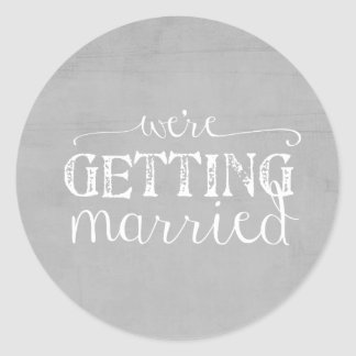 Gray Wedding We're Getting Married Sticker