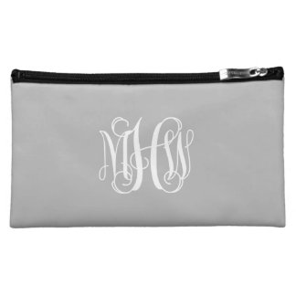 Gray White 3 Initials Vine Script Monogram Cosmetic Bag