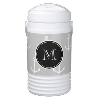 Gray White Anchors Pattern, Black Monogram Drinks Cooler