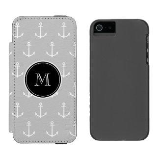 Gray White Anchors Pattern, Black Monogram Incipio Watson™ iPhone 5 Wallet Case
