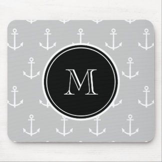 Gray White Anchors Pattern, Black Monogram Mouse Mat