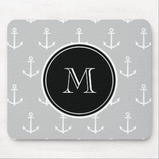 Gray White Anchors Pattern, Black Monogram Mouse Pad