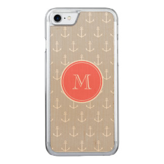 Gray White Anchors Pattern, Coral Monogram Carved iPhone 7 Case