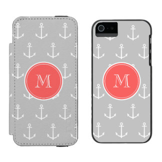 Gray White Anchors Pattern, Coral Monogram Incipio Watson™ iPhone 5 Wallet Case