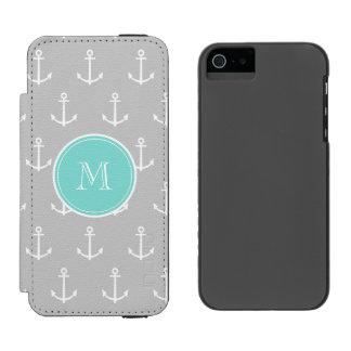 Gray White Anchors Pattern, Mint Monogram Incipio Watson™ iPhone 5 Wallet Case