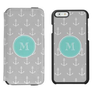 Gray White Anchors Pattern, Mint Monogram Incipio Watson™ iPhone 6 Wallet Case