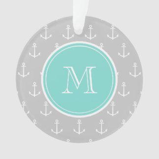 Gray White Anchors Pattern, Mint Monogram Ornament